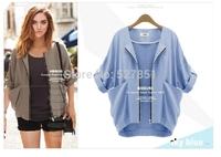 2014 Autumn new fund European stations Women Big Star The same paragraph  Bat shirt  Sleeve Tee Women Mess Stitching coat