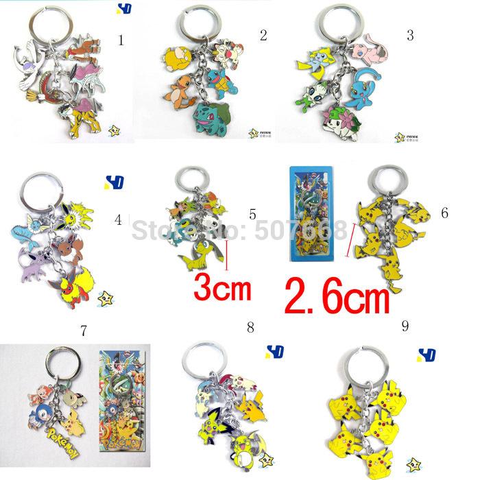 10 stuks pokemon pikachu cartoon anime figuren sleutelhangers metalen ...