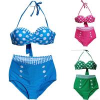 2014 New Swimsuit Swimwear Women Sexy High Waist Bikini Bandage Push Up Beachwear Pink Green Blue Bikinis Set S M L XL