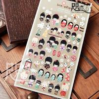3 Sheets/Lot DIY Scrapbooking Paper Kimono dolls Diary Photo Album Stickers Wedding Decoration Sticker