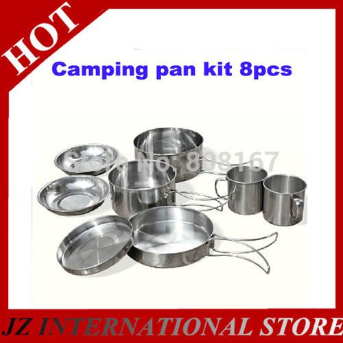 New 2014 Portable Aluminum Mess Kit Camping Pan Set 8pcs Outdoor Cookware Drinking Cup Cooking Pan 1-2people(China (Mainland))