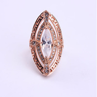 2014  Fashion Jewelry Brand WNR Anel Ouro Rose Gold Plated Punk Style Shell Big Rings Womens/Men  With Australia Crystal Sale