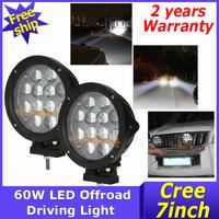 2X Cree Led Off Road Light 12x5W Truck 60W Work Lamp 4wd 1000m Adjustable Suv Atv  9~80V 4x4 Car Flood Beam Boat Driving light
