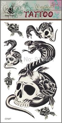 [ 1 lot=5 pcs ] (mix order )Skull Cobra waterproof DIY stickers Temporary tattoo stickers 2014081148(China (Mainland))