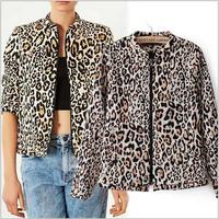 [B-1467] Free shipping 2014 new autumn women leopard print  jacket  casual  zipper  jackets