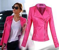 2014 autumn pink leather coat short design PU leather Slim jacket outerwear plus size jaqueta de couro feminina