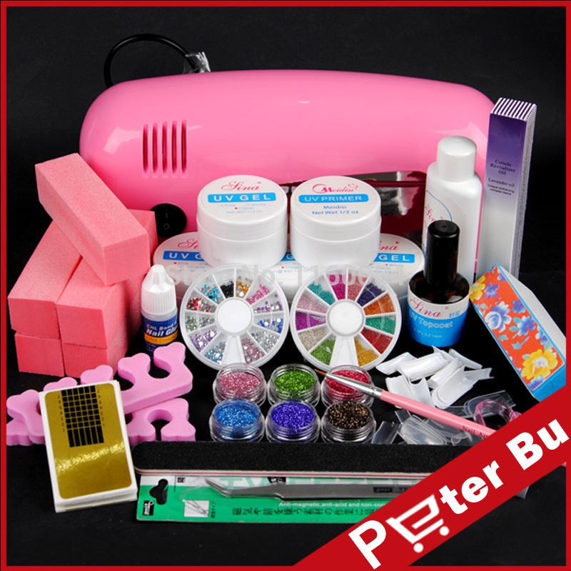 9W Pink LAMP UV GEL cleanser plus NAIL ART acrylic powder tips buffer block Dust Stickers Brushes nail tools KIT 226(China (Mainland))