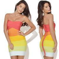 2014 Summer New Fashion Women Bandage Dress Rayon Sexy Evening Party Dress Candy Color Bodycon dress