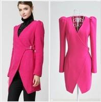 New Womens rose red Hubble bubble sleeve cross type wool coat long suit