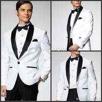 Top selling White Jacket With Black Satin Lapel Groom Tuxedos/Groomsmen Best Man Suit/Mens Wedding Suits (Jacket+Pants+Bow Tiewe
