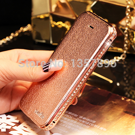 Flip Leather bling Cover For Apple Iphone 6 iphone 5 5S rhinestone Luxury Case With Diamond Crystal Metal Fundas Capa(China (Mainland))