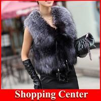 Freeshipping 2014 fashion Spring/Autum women Plus size Sleeveless Leather/ fur vest leather vest fur women Coat outwear Cardigan