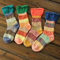 Women's ice cream candy color pile of pile of socks 100% cotton ruffle vintage stripe knee-high socks