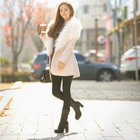 Korean temperament wool coat coat thick fur fur collar class