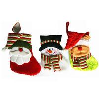 "Christmas Socks,10 pcs a lot 14"" Indoor Christmas Hanging Stockings Decoration Santa Deer  Claus Snowman,Drop Shipping,SHB019"