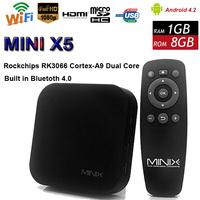 High Quality MINIX NEO X5 Mini  Android 4.2.2  RK3066 DualCore 1G RAM 8G ROM Mini PC TV Box 1080p HDMI  with Remote Control