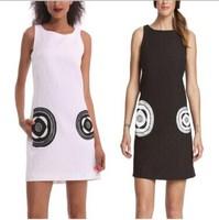 2014 Summer Women Dress Casual Print Geometric White Dress Sexy Party Floral Dress O neck Bohemian Celebrity Lady Dress DG022
