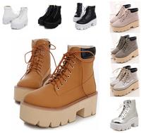 winter autumn high heels plus size Eur 33-43 platform shoes woman wedges booties motorcycle pumps women ankle boots SX140898