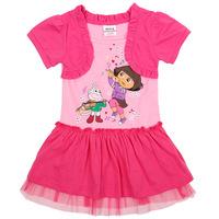 Hot Selling New Design Girl's Dress Short  Sleeve Fake 2pcs Girls Dresses Fashion Girls Clothing Cartoon Dora Girl's Dresses