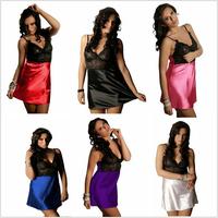 XL XXL 3XL 4XL European Style Women Plus Size Sexy Strapped Lace Patchwork Silk Mini Babydoll Lingeries New Satin Pyjamas Sets