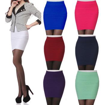 Самые дешевые женщины юбки лето высокая талия конфеты цвет Большой размер резинка плиссированные короткие строки мини Bodycon юбка Saia