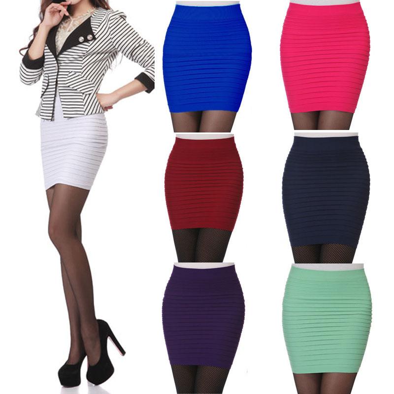Moins cher femmes jupes taille haute été, candy couleur taille plus courtes plissées élastiques, un- ligne bodycon saia mini jupe