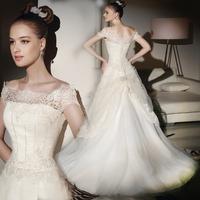 2014 spring wedding dress formal dress white quality fashion vintage lace slit neckline luxury strap train