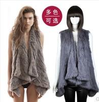 free shipping Knitted Rabbit Fur Vest Women Fashion Fur Vest ~DROP SHIPPING