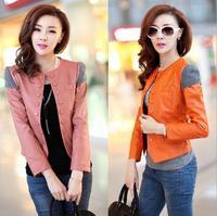 Free shipping Women faux leather jacket PU Leather Short Slim Jacket Feminino Jaqueta couro M L XL XXL 4 Colors