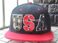 Free shipping 2014 NEW PUNK Mirror Acrylic USA letter 4 colors Hiphop baseball snapback Rivet Spike studded Dance flat Cap hats