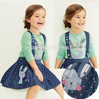 Free shipping 2014 Autumn New Arrival girls lovely rabbit shirt + straps skirt set,girl cartoon clothing set,5sets/lot wholesale