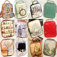 2014 fashiom print backpack women backpack small female PU backpack school bag preppy style free shipping#3374