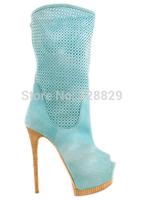 European style fashion peep toe platform high heel boots 2014 designer ultra high cutouts summer sandal boots breathable boots
