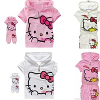 Wholesale New arrival fashion cute hello kitty children clothing short sleeve T-shirt +pants children kids suit kids clothes