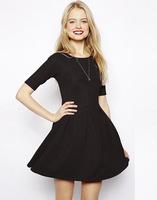 2014 New Autumn-Winter Women Casual Dress Fashion O-Neck Half Sleeve Brief Dress Elegant Women Dress