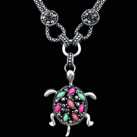 Vintage Look Antique Silver Plated Colorful Cute Creepy Tortoise  Pendant Necklace TN204