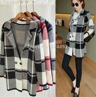 Free shipping 2014 new winter dress British wind large lattice long knit cardigan sweater  Fashion trench coat