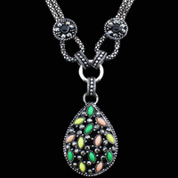 Vintage Look Antique Silver Plated Colorful Cute Drop  Pendant Necklace TN203
