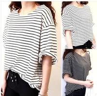 summer 2014 new fashion all-match tees basic women t shirt female top young girl stripe loose half sleeve HARAJUKU t-shirt