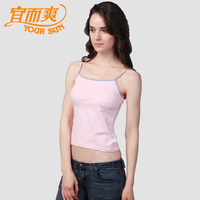 2 women's cotton ammonia elastic fashion spaghetti strap top small fresh basic small vest