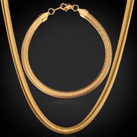 18K Stamp New Cool Hip-hop Snake Necklace Bracelet Chain Gold Plated Chunky Necklace Men's Jewelry Set 5MM Wholesale MGC GNH334K