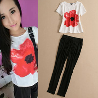 Fashion T-Shirts Set Woman 2014 Summer Fflower Print T-Shirt Top And Pencil Pants Set Female