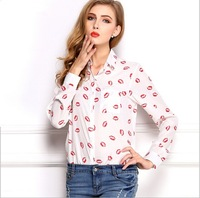 New 2015 Womens elegant casual Long sleeve Pockets Lips Print office uniform chiffon blouses shirts for work wear S M L XL