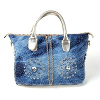 Free shipping 2014 new women's canvas bag fashion diamond denim woven ladies handbag shoulder hand ladies handbag factory outlet