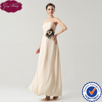 Goingwedding New Real Sample A-Line Strapless Fashionable New Mode Cheap Long Beautiful Chiffon  Evening Dress GS1501