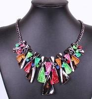 2014 New Fashion Gun Black Chain Multicolor  Statement Necklaces&Pendant Punk Choker For Women Jewelry Free Shipping