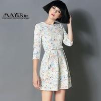 Three-dimensional bow cutout jacquard step fashion 2014 slim waist one-piece dress