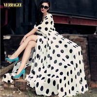 2014 Summer new European and American Polka Dot split chiffon long dress women's long maxi dress plus size S-XXL