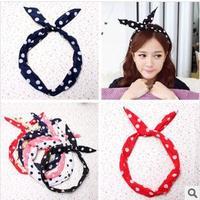 freeshipping   wholesale Polka dot rabbit ear hair band      mix lot , mix bag, 100pcs /lot  fashion  elastic rope