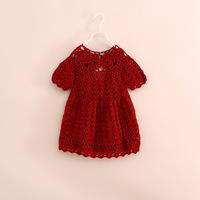 2014 new arrival fashion baby girl short sleeve hollow knitted lace dress sweater